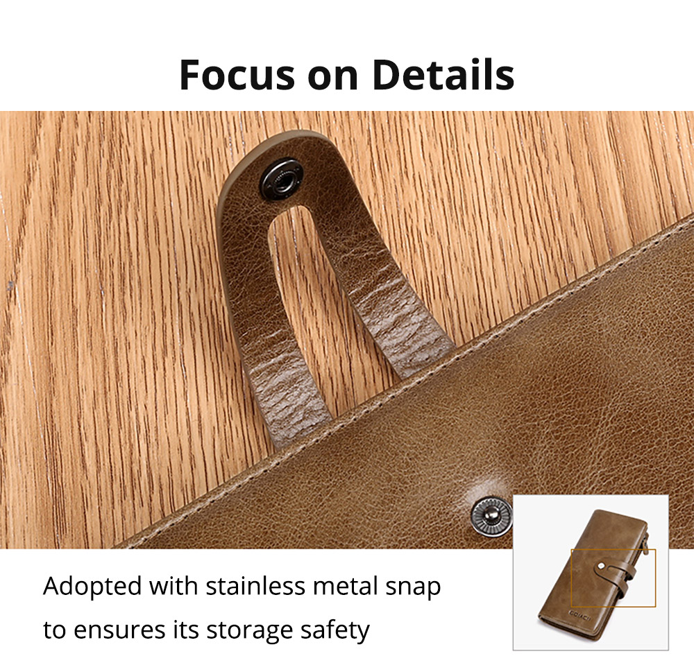 Retro Genuine Leather Men's Wallet with Metal Snap Zipper Pocket, Durable Antiwear Multiple Card Slots Universal Men's Clutch 14
