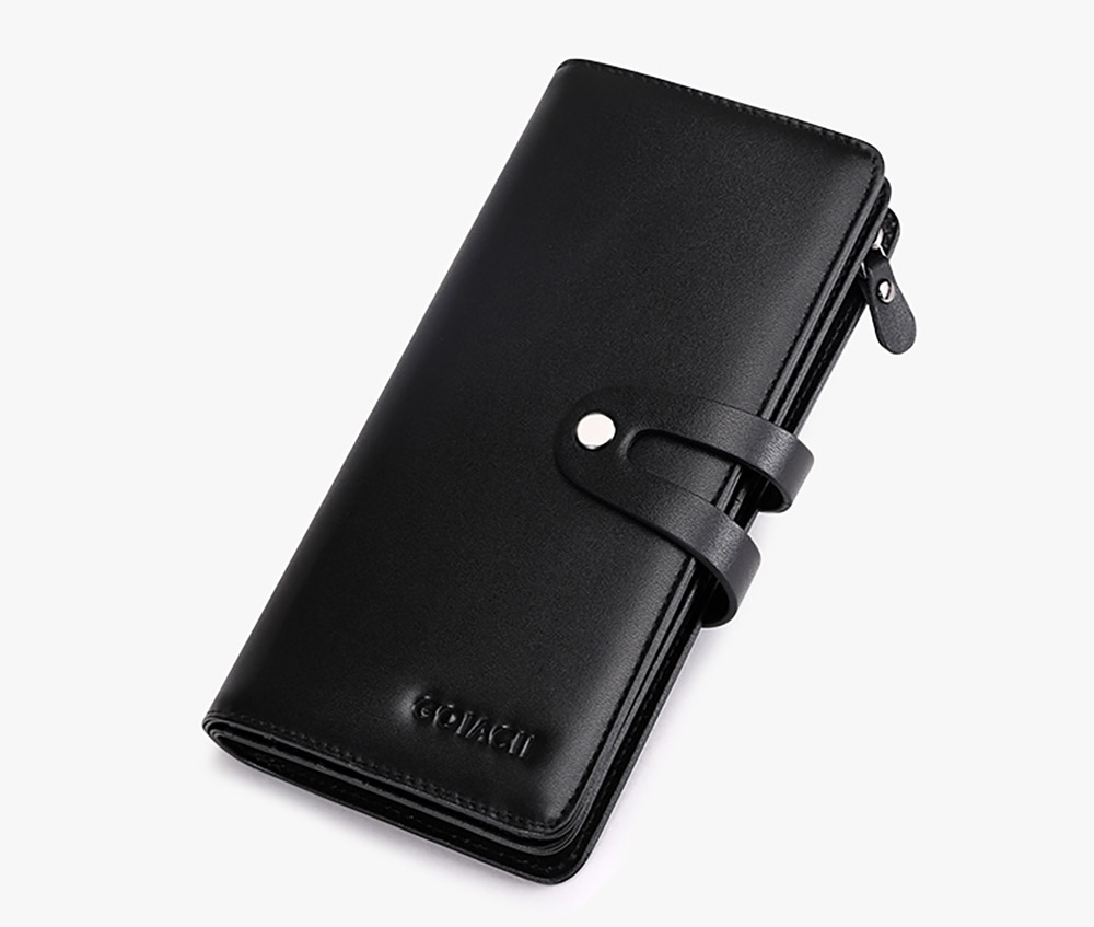 Retro Genuine Leather Men's Wallet with Metal Snap Zipper Pocket, Durable Antiwear Multiple Card Slots Universal Men's Clutch 21