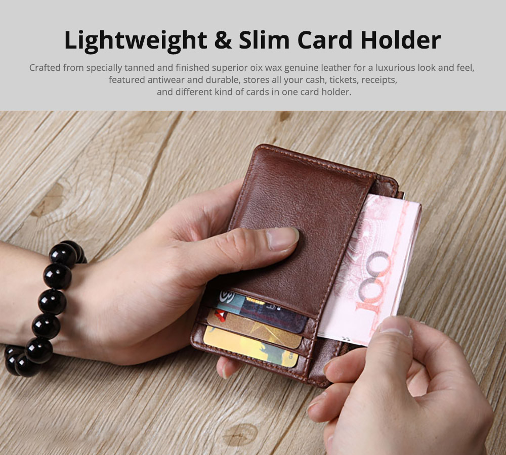 Fashionable Men's Wallet, Lightweight Thin Genuine Leather Soft Vintage Wallets for Men with Multiple Compartments Card Slots 6