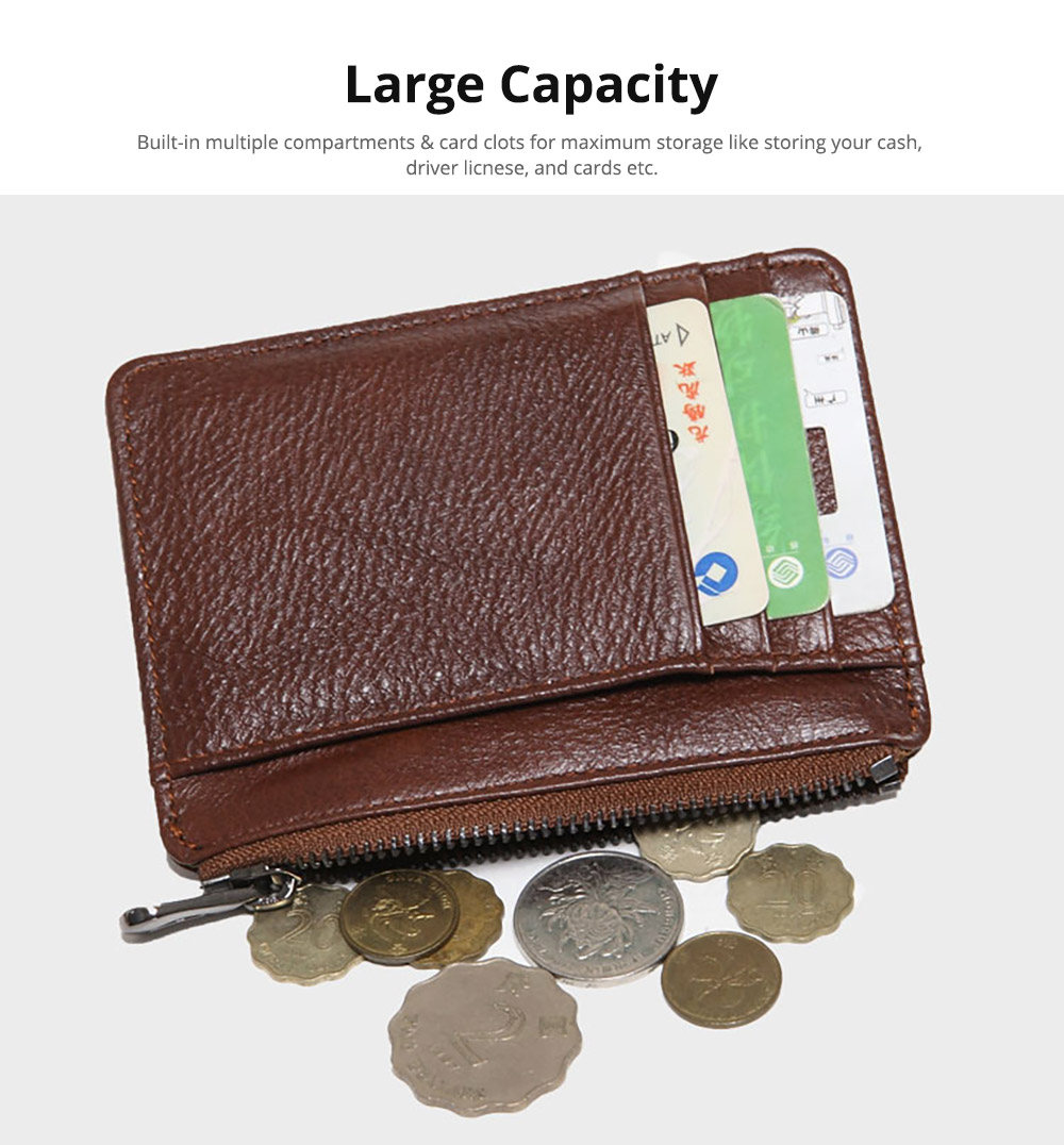 Fashionable Men's Wallet, Lightweight Thin Genuine Leather Soft Vintage Wallets for Men with Multiple Compartments Card Slots 8