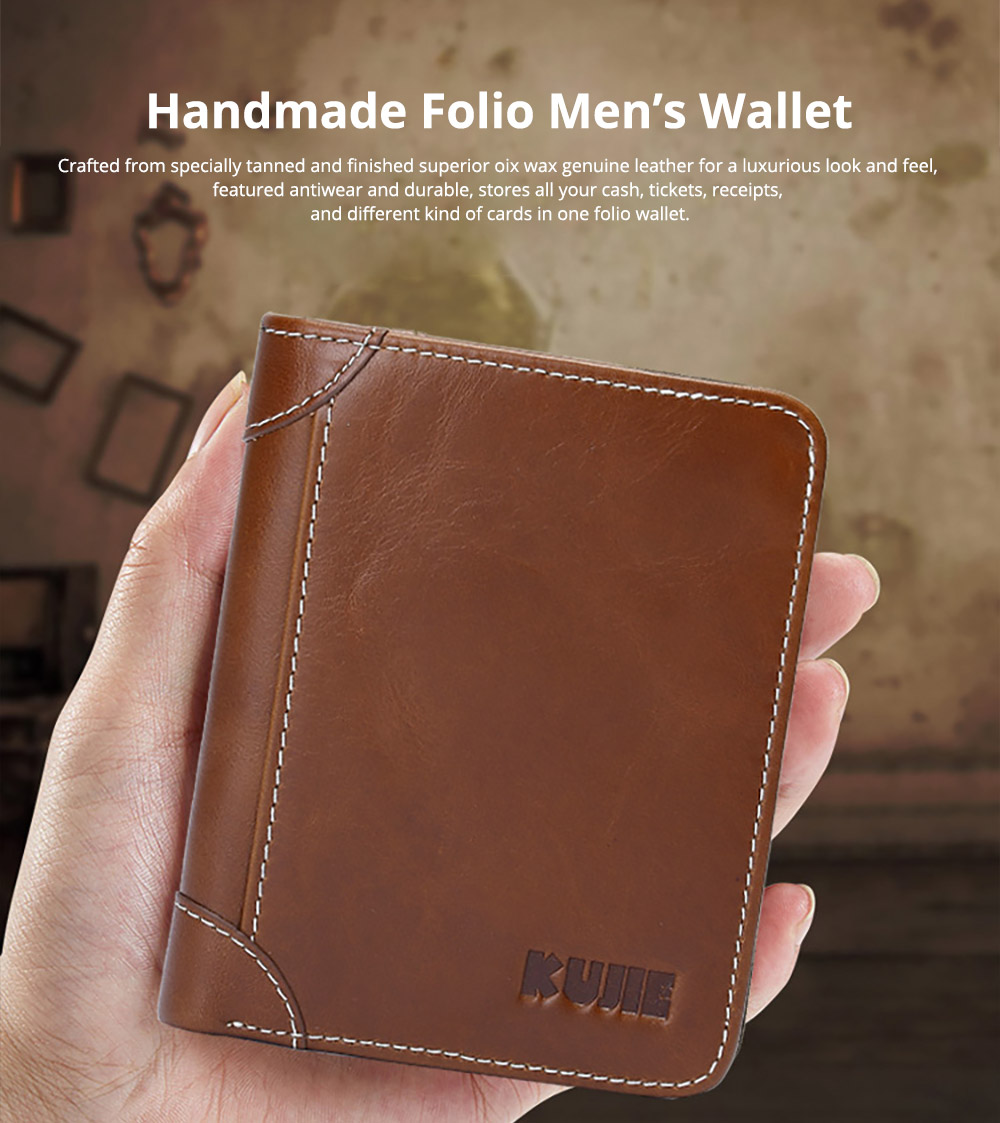 Handmade Men's Wallet Durable & Lightweight, Thin Oil Wax Genuine Leather Men's Folio Purse with Photo Frame for Driver License, Receipts, ID Card, Coins, and Cash 6