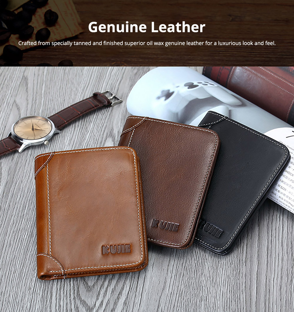 Handmade Men's Wallet Durable & Lightweight, Thin Oil Wax Genuine Leather Men's Folio Purse with Photo Frame for Driver License, Receipts, ID Card, Coins, and Cash 7