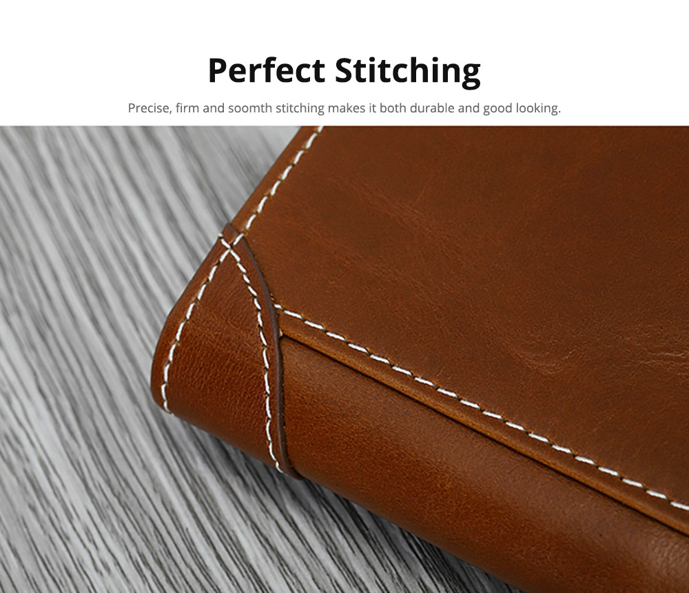 Handmade Men's Wallet Durable & Lightweight, Thin Oil Wax Genuine Leather Men's Folio Purse with Photo Frame for Driver License, Receipts, ID Card, Coins, and Cash 12
