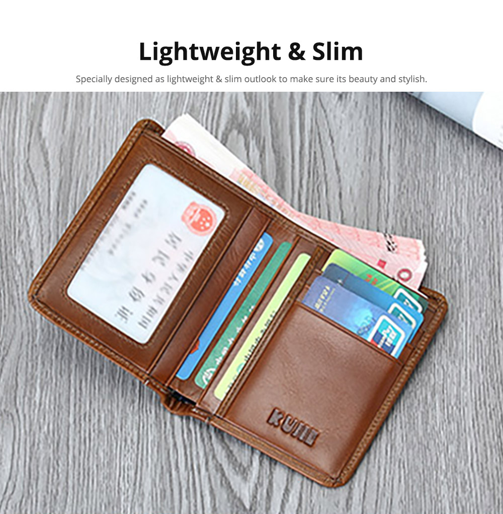Handmade Men's Wallet Durable & Lightweight, Thin Oil Wax Genuine Leather Men's Folio Purse with Photo Frame for Driver License, Receipts, ID Card, Coins, and Cash 13