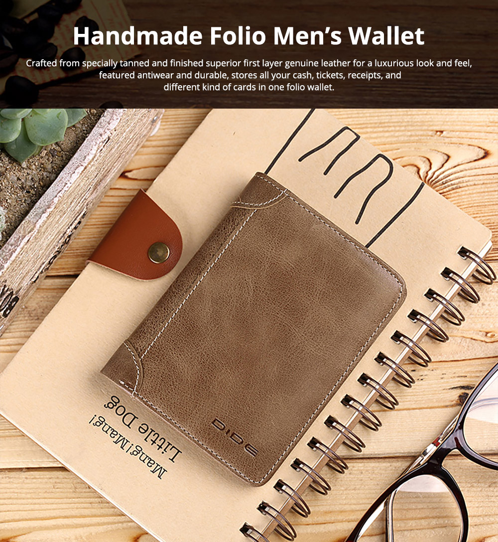 Handmade Folio Genuine Leather Men's Wallet, Durable Foldable First Layer Leather Wallet with Multiple Compartments for Driver License ID Card Receipt Cash Coins 6