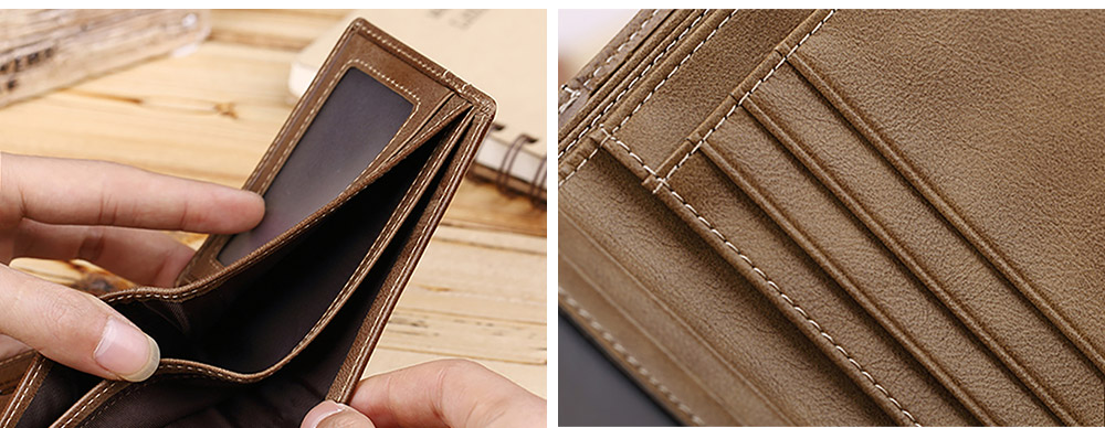 Handmade Folio Genuine Leather Men's Wallet, Durable Foldable First Layer Leather Wallet with Multiple Compartments for Driver License ID Card Receipt Cash Coins 9