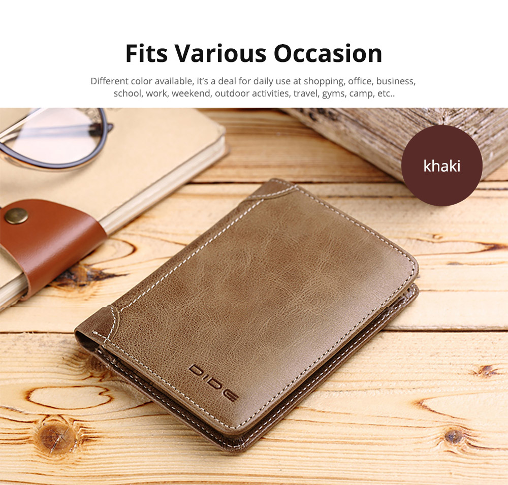 Handmade Folio Genuine Leather Men's Wallet, Durable Foldable First Layer Leather Wallet with Multiple Compartments for Driver License ID Card Receipt Cash Coins 14