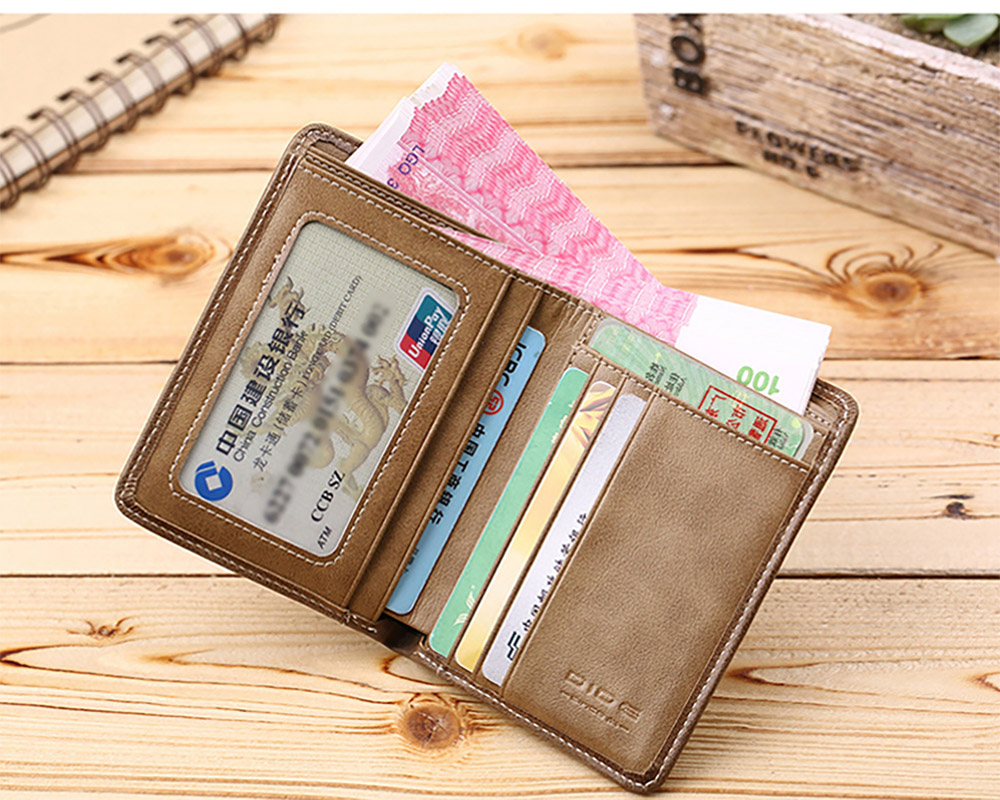 Handmade Folio Genuine Leather Men's Wallet, Durable Foldable First Layer Leather Wallet with Multiple Compartments for Driver License ID Card Receipt Cash Coins 15