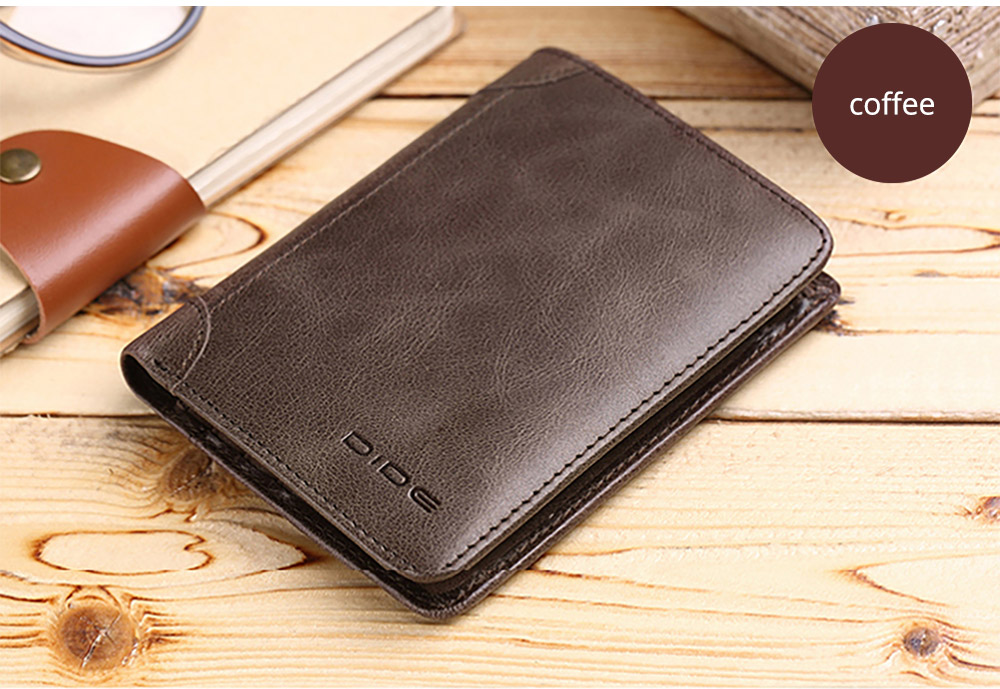 Handmade Folio Genuine Leather Men's Wallet, Durable Foldable First Layer Leather Wallet with Multiple Compartments for Driver License ID Card Receipt Cash Coins 17