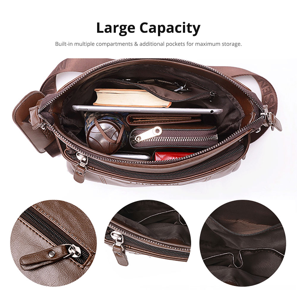 Business Man Leather Shoulder Bag Luxurious Briefcase, Multipurpose Large Capacity Men's Handbag with Clutch Widen Strap Multiple Compartments 8