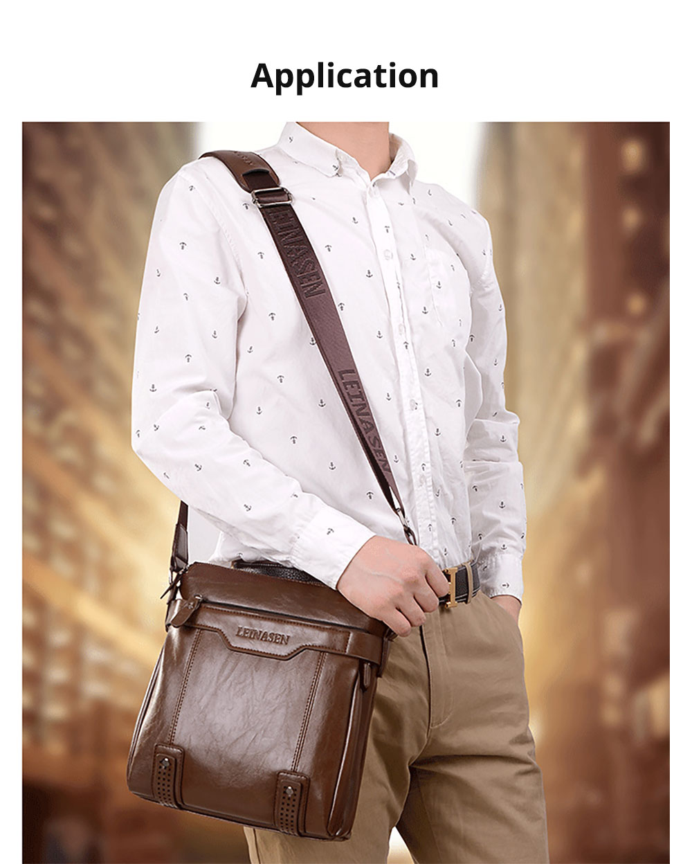 Business Man Leather Shoulder Bag Luxurious Briefcase, Multipurpose Large Capacity Men's Handbag with Clutch Widen Strap Multiple Compartments 14