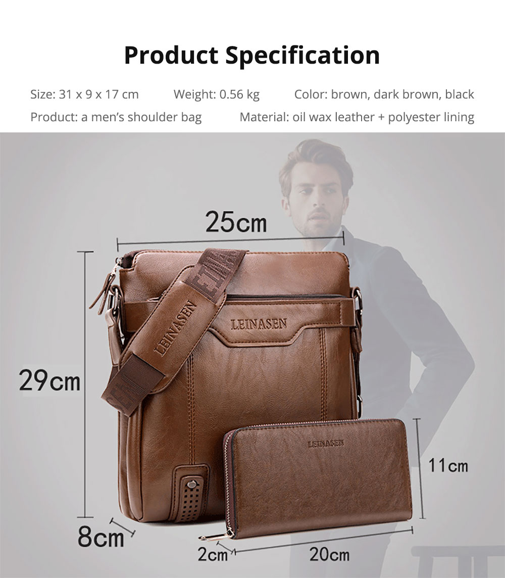 Business Man Leather Shoulder Bag Luxurious Briefcase, Multipurpose Large Capacity Men's Handbag with Clutch Widen Strap Multiple Compartments 24