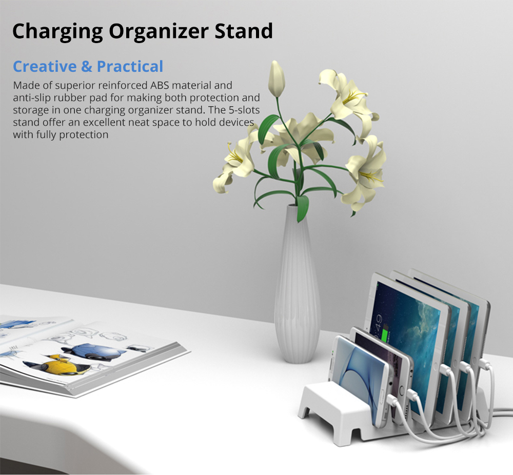 Charging Organizer Dock Stand 5-Slot Compatible with iPhone, iPad, Kindle, Fire Tablet, Samsung Galaxy, Google Nexus, Pixel, Adjustable Universal Multi-Device  All Electronic Devices Separator Holder 5
