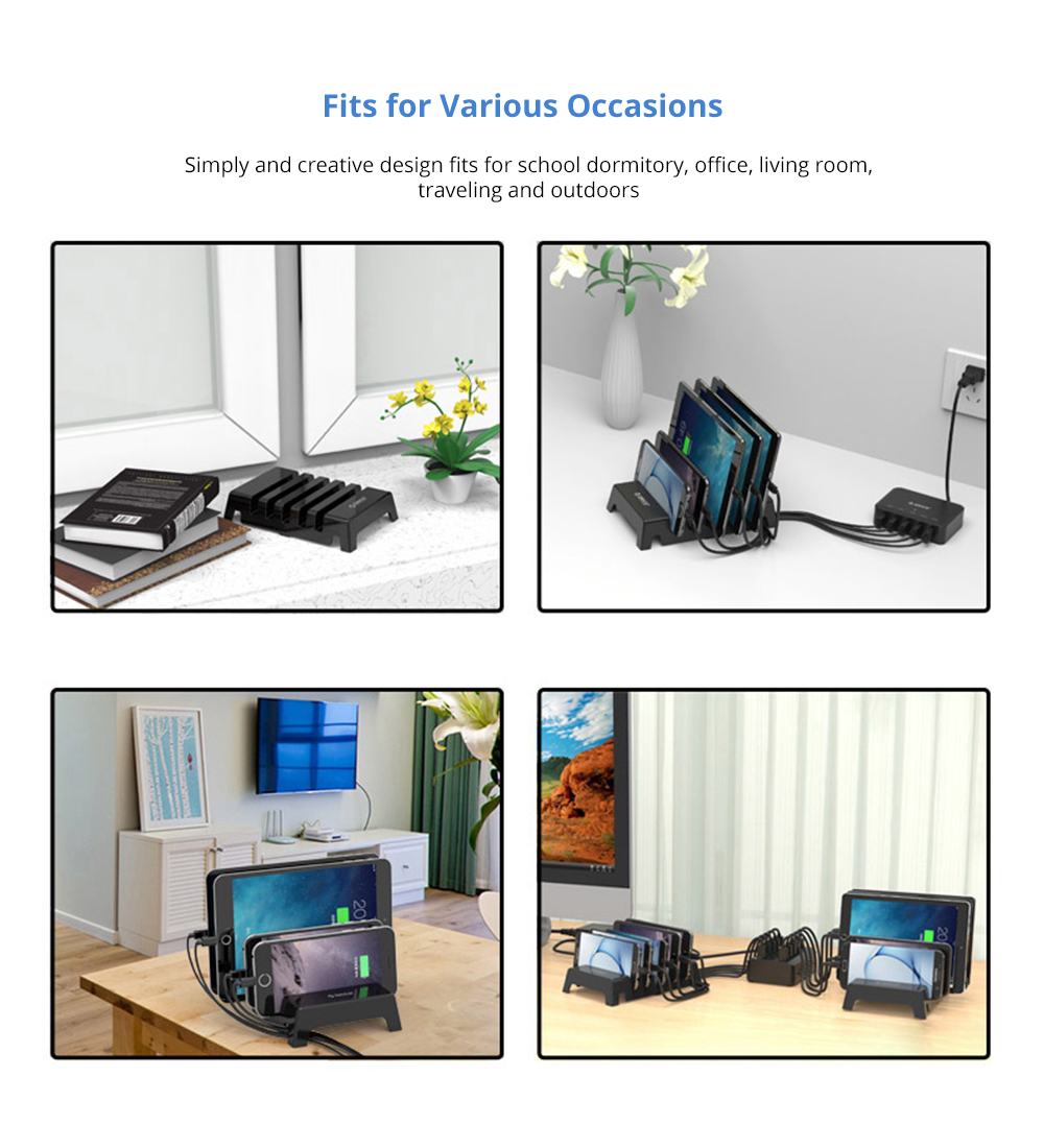 Charging Organizer Dock Stand 5-Slot Compatible with iPhone, iPad, Kindle, Fire Tablet, Samsung Galaxy, Google Nexus, Pixel, Adjustable Universal Multi-Device  All Electronic Devices Separator Holder 10