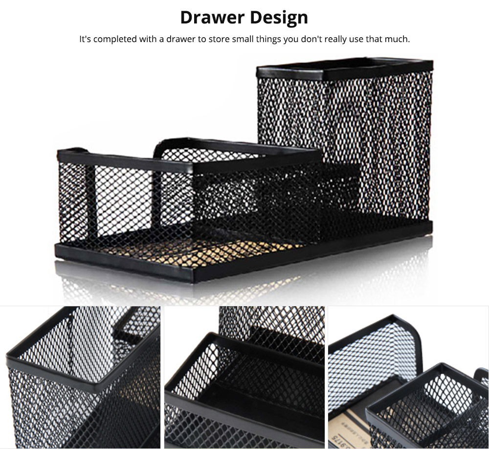 Office Supplies Universal Home School Office Desktop Organizer with 4 Compartments for Pens, Clips, Scissor, Card Pencil Holder 10