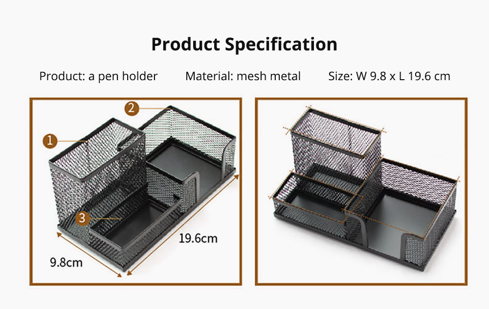 Office Supplies Universal Home School Office Desktop Organizer with 4 Compartments for Pens, Clips, Scissor, Card Pencil Holder 13