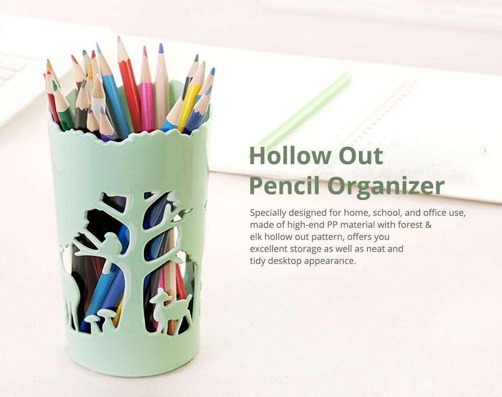 Unique Pencil Holder For Desk, Forest & Elk Pattern Desktop Pencil Holder Organizer for Pens Clips Scissors Pencil Holder Cup 6