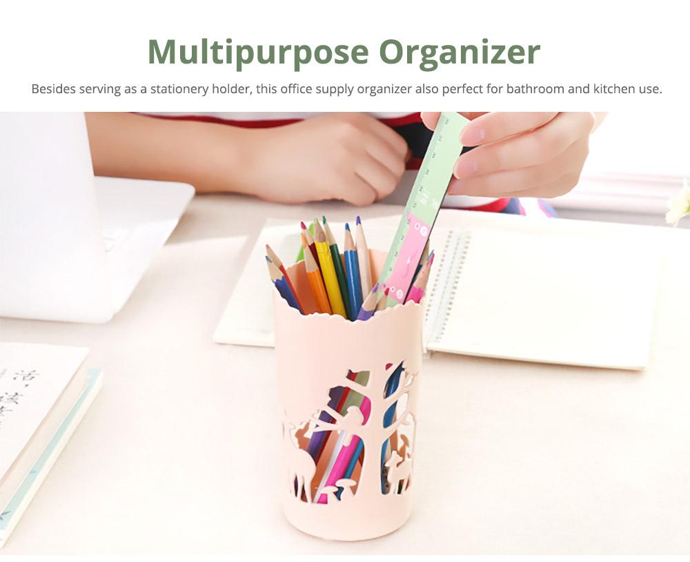 Unique Pencil Holder For Desk, Forest & Elk Pattern Desktop Pencil Holder Organizer for Pens Clips Scissors Pencil Holder Cup 10