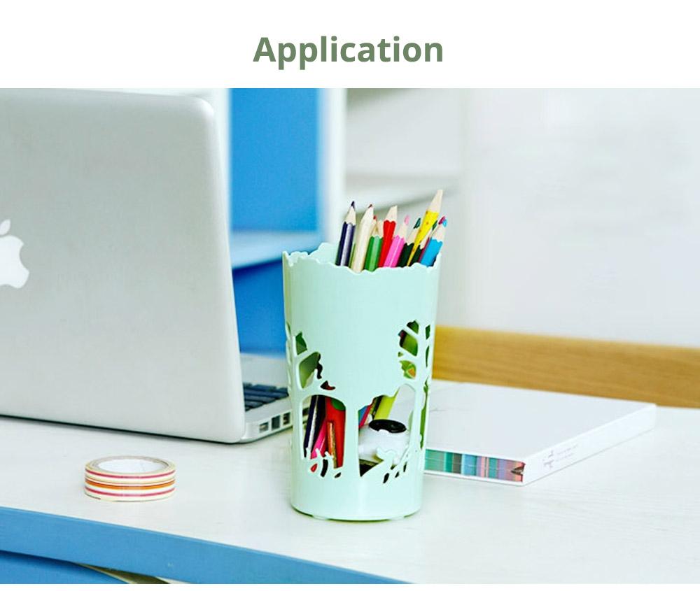 Unique Pencil Holder For Desk, Forest & Elk Pattern Desktop Pencil Holder Organizer for Pens Clips Scissors Pencil Holder Cup 15