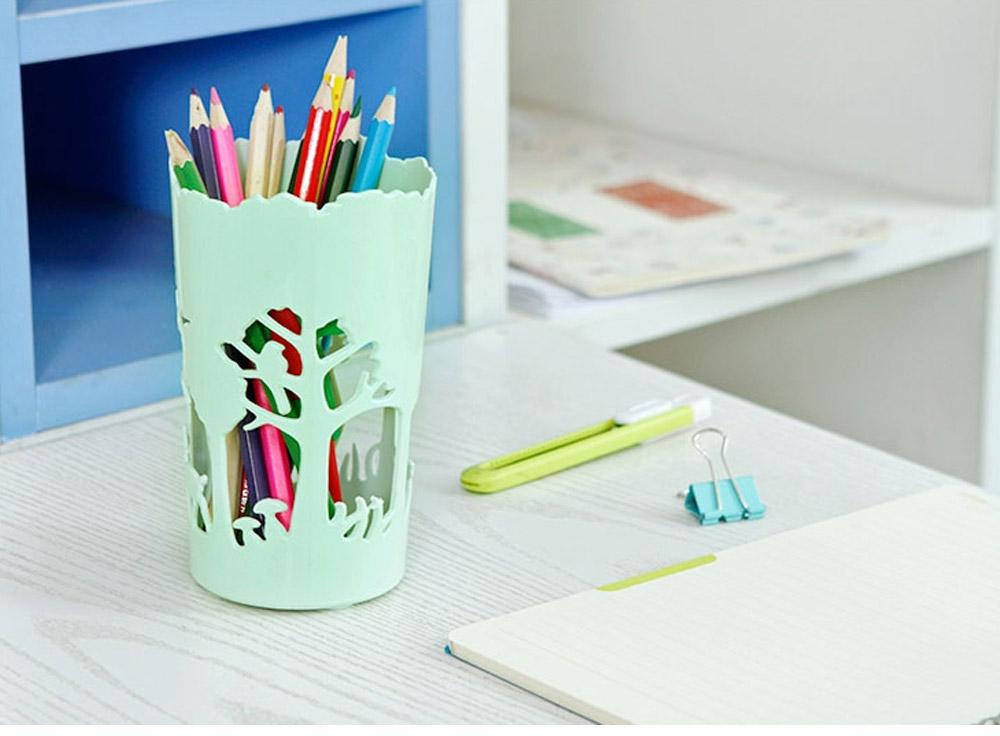 Unique Pencil Holder For Desk, Forest & Elk Pattern Desktop Pencil Holder Organizer for Pens Clips Scissors Pencil Holder Cup 16