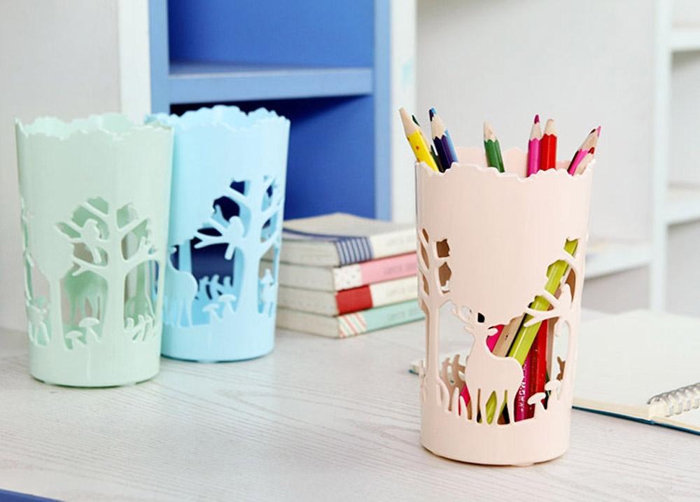 Unique Pencil Holder For Desk, Forest & Elk Pattern Desktop Pencil Holder Organizer for Pens Clips Scissors Pencil Holder Cup 17
