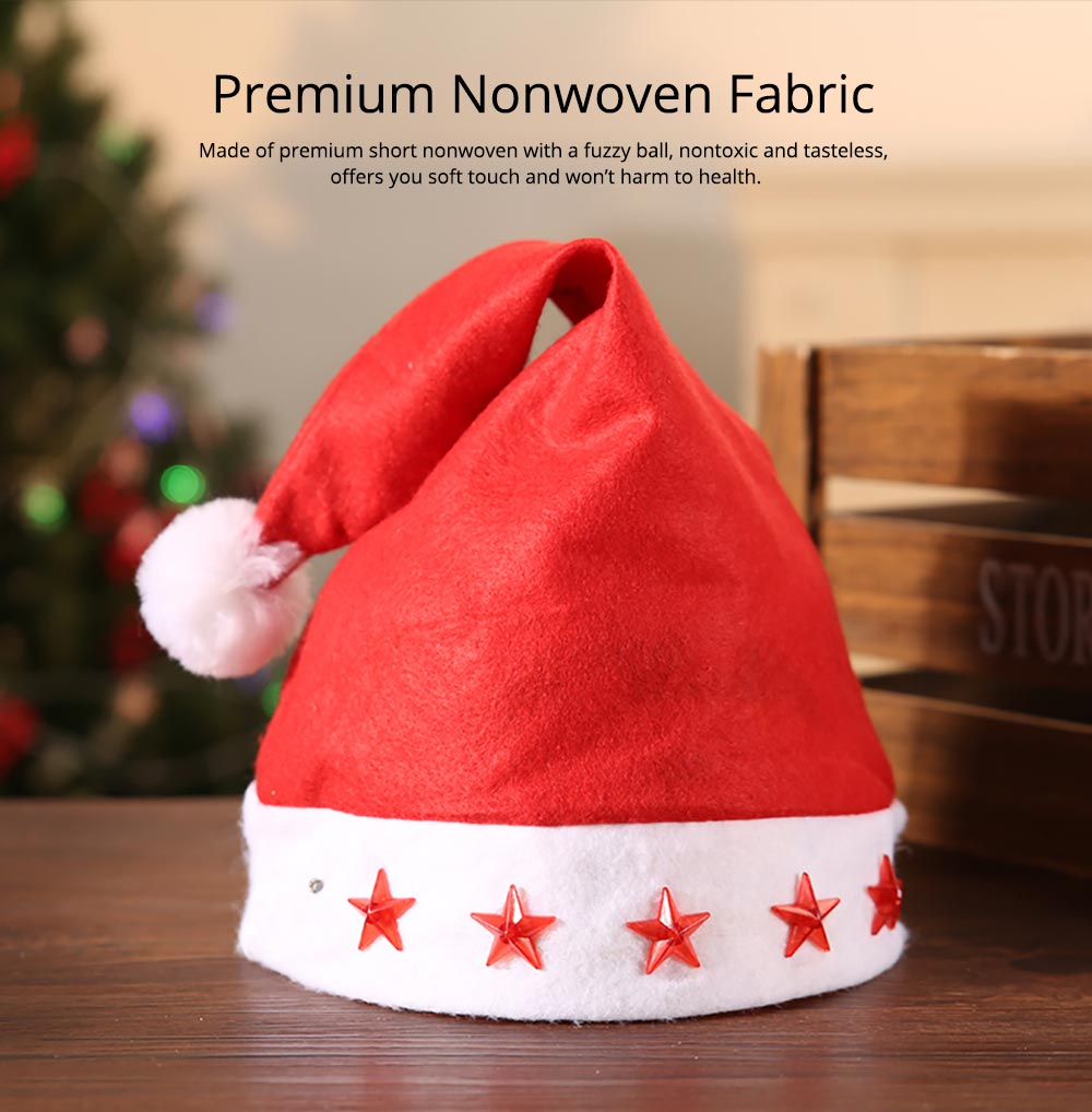 Christmas Hat With Lights - Traditional Christmas Hat Red & White, Christmas Accessory Santa Claus Cap Xmas Hat 7
