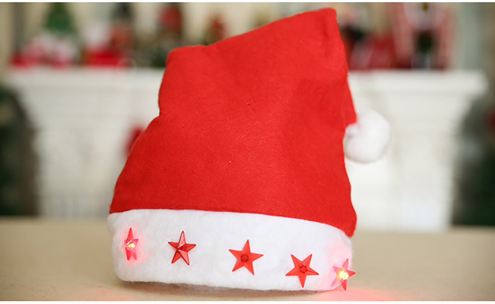 Christmas Hat With Lights - Traditional Christmas Hat Red & White, Christmas Accessory Santa Claus Cap Xmas Hat 16