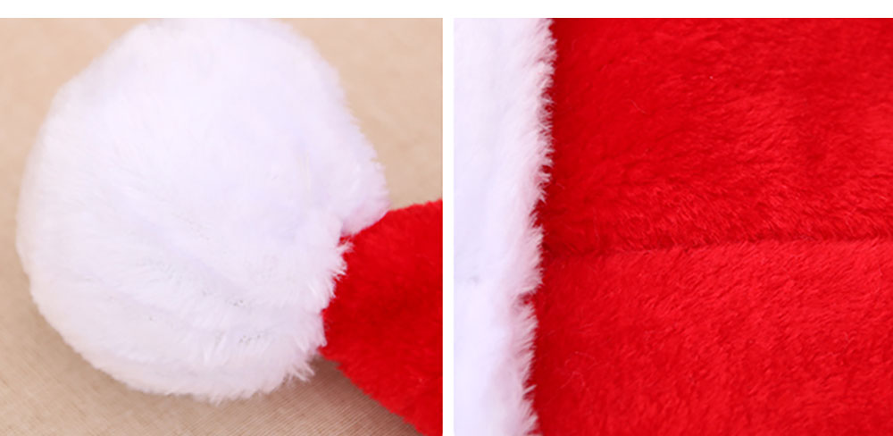 Santa Claus Cap Nontoxic and Tasteless Thickened Short Plush Fabric Christmas Hat, Necessary Accessories Ornament Luxurious Christmas Santa Hat 10
