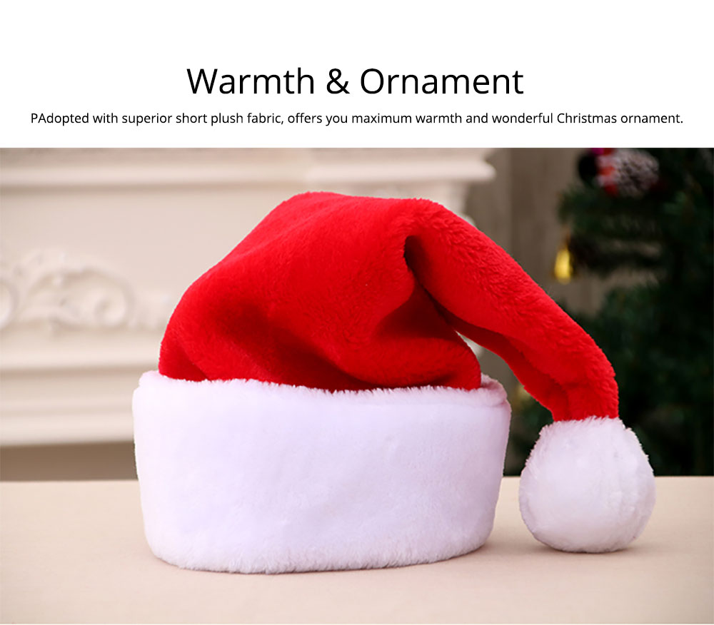 Santa Claus Cap Nontoxic and Tasteless Thickened Short Plush Fabric Christmas Hat, Necessary Accessories Ornament Luxurious Christmas Santa Hat 11