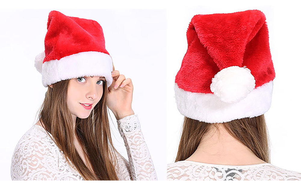 Santa Claus Cap Nontoxic and Tasteless Thickened Short Plush Fabric Christmas Hat, Necessary Accessories Ornament Luxurious Christmas Santa Hat 14