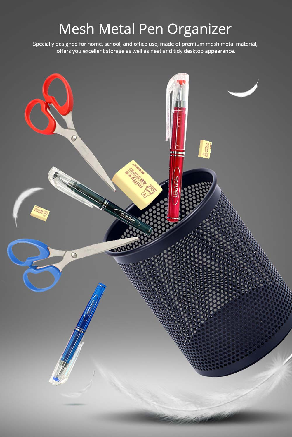 Desktop Pencil Holder Durable Metal Organizer for Pens Clips Scissors, Multipurpose Organizer Office Supplies Home School Office Essential 6