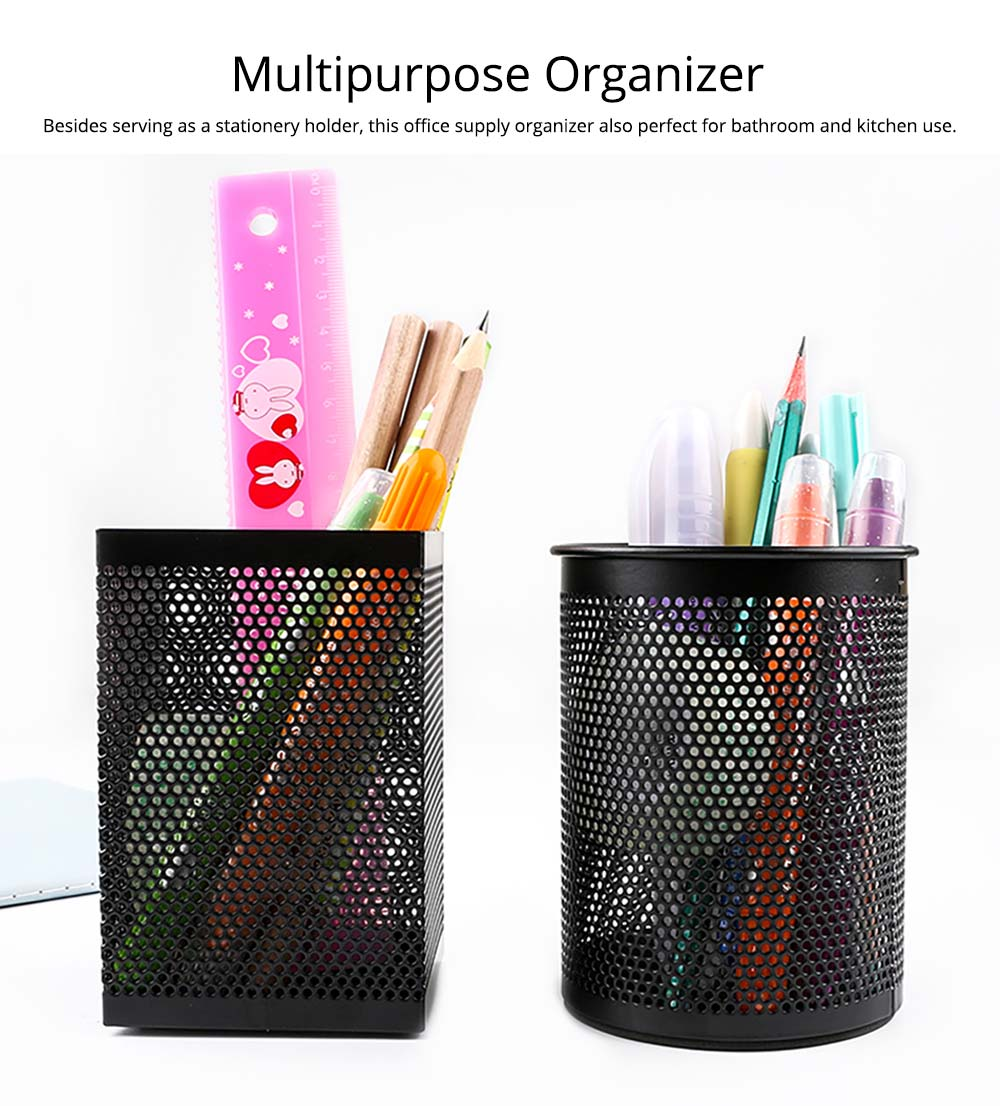Desktop Pencil Holder Durable Metal Organizer for Pens Clips Scissors, Multipurpose Organizer Office Supplies Home School Office Essential 10