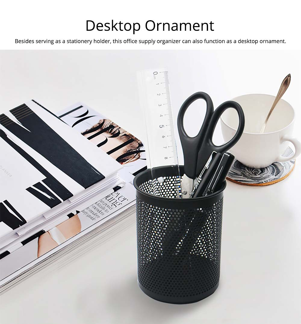 Desktop Pencil Holder Durable Metal Organizer for Pens Clips Scissors, Multipurpose Organizer Office Supplies Home School Office Essential 11
