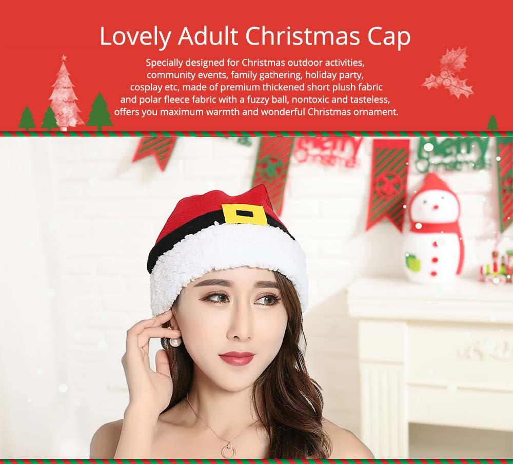 Christmas Hat Adult, Lovely Short Plush Santa Hat with Polar Fleece Fabric 6