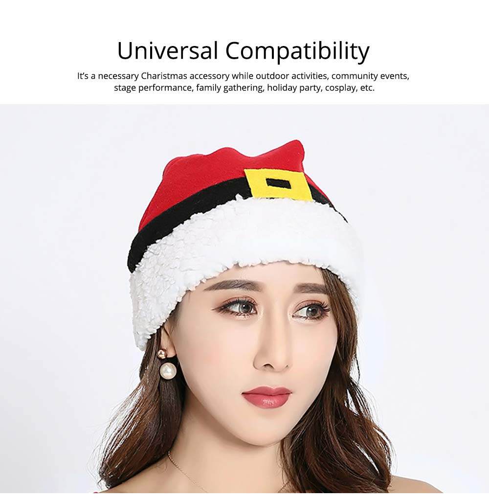 Christmas Hat Adult, Lovely Short Plush Santa Hat with Polar Fleece Fabric 10