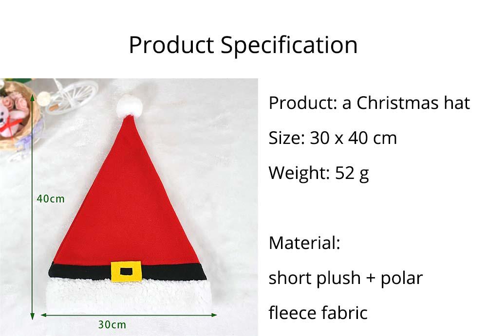 Christmas Hat Adult, Lovely Short Plush Santa Hat with Polar Fleece Fabric 12