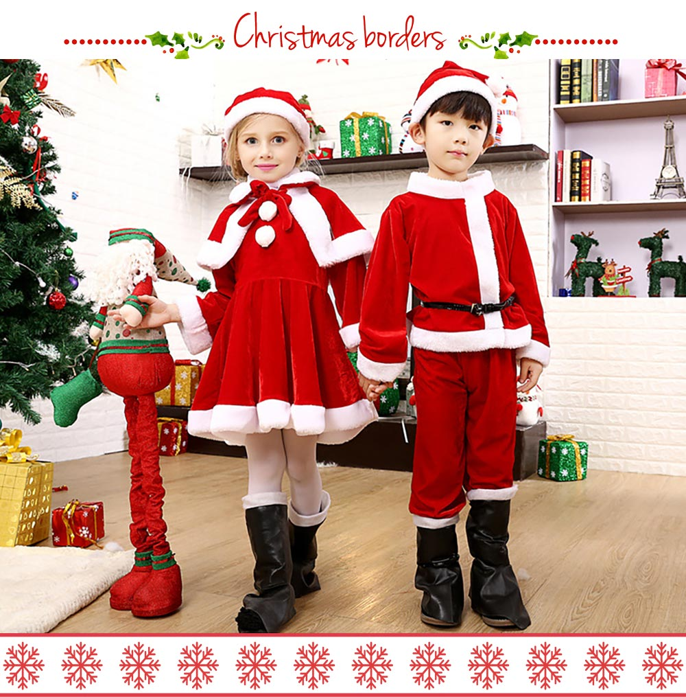 Children Christmas Costume Deluxe plush Christmas Suit for Christmas Party Cosplay Party Family Gathering Stage Performance Christmas Costume Set 7