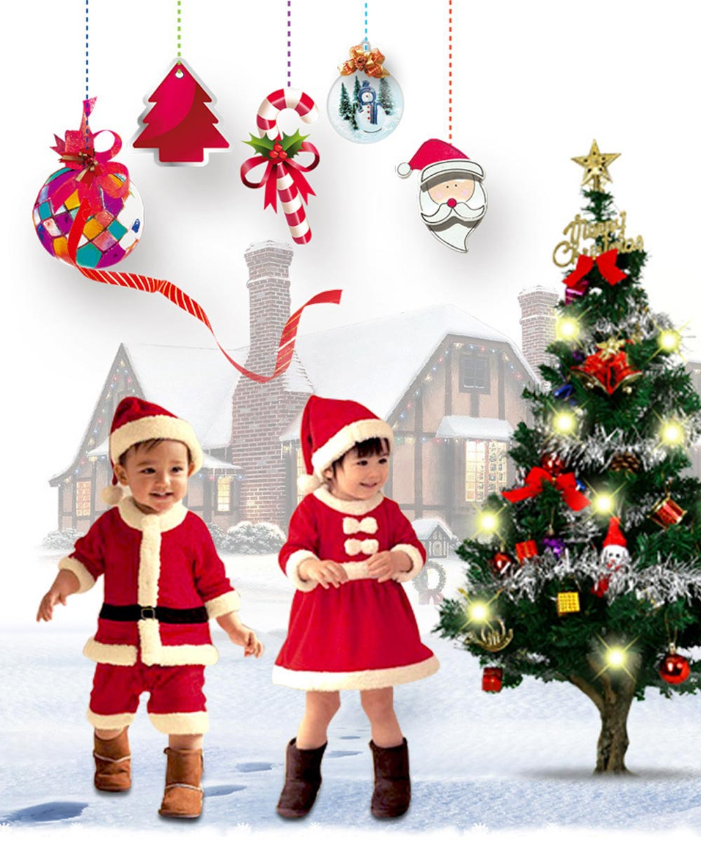 Children Christmas Costume Deluxe plush Christmas Suit for Christmas Party Cosplay Party Family Gathering Stage Performance Christmas Costume Set 8