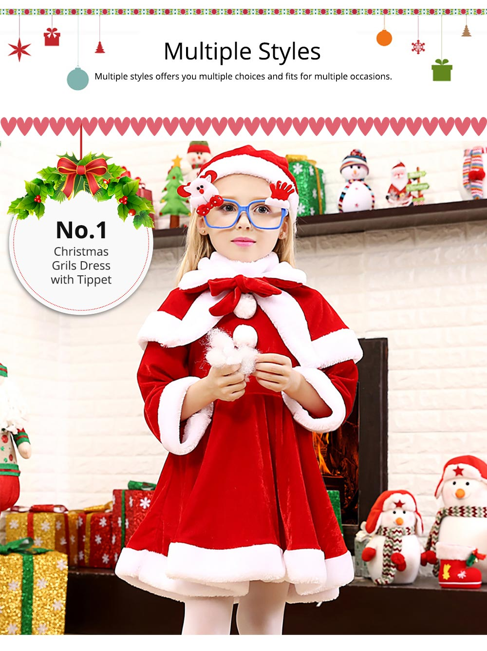 Children Christmas Costume Deluxe plush Christmas Suit for Christmas Party Cosplay Party Family Gathering Stage Performance Christmas Costume Set 12