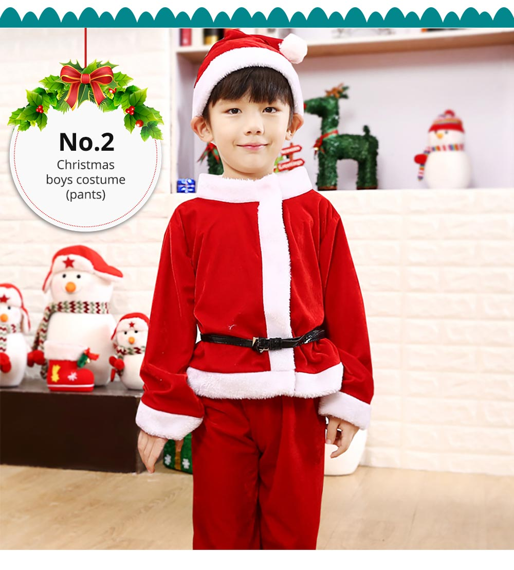 Children Christmas Costume Deluxe plush Christmas Suit for Christmas Party Cosplay Party Family Gathering Stage Performance Christmas Costume Set 13