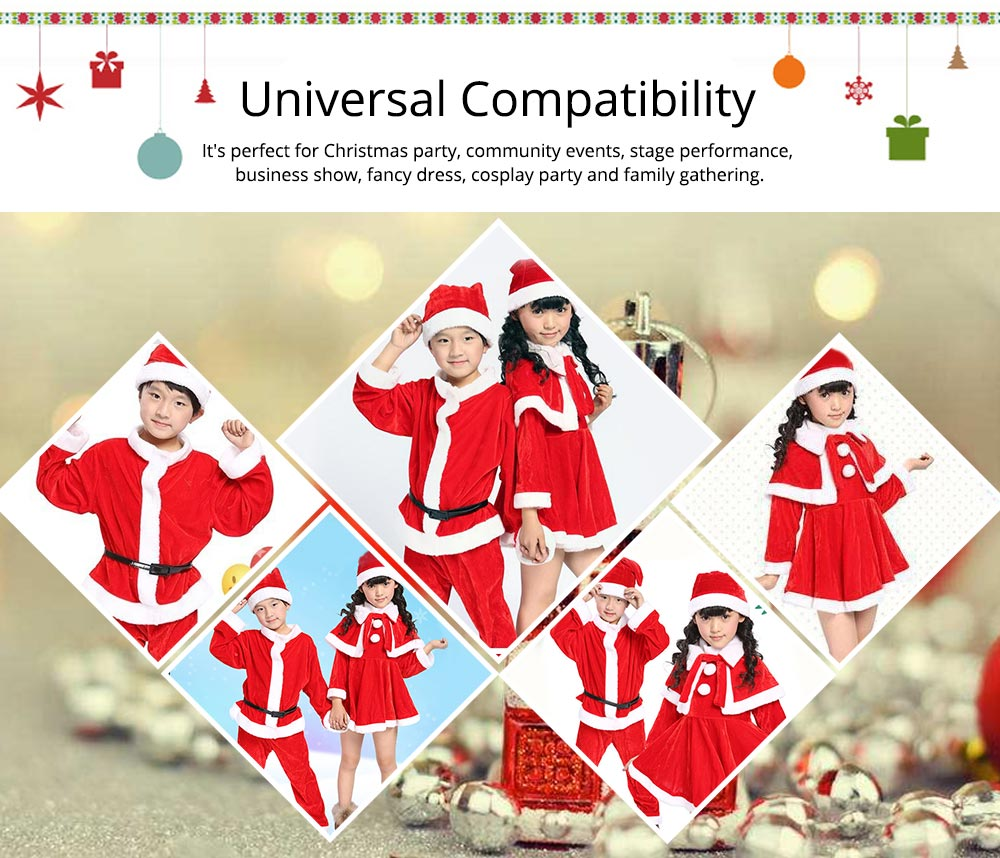 Children Christmas Costume Deluxe plush Christmas Suit for Christmas Party Cosplay Party Family Gathering Stage Performance Christmas Costume Set 16