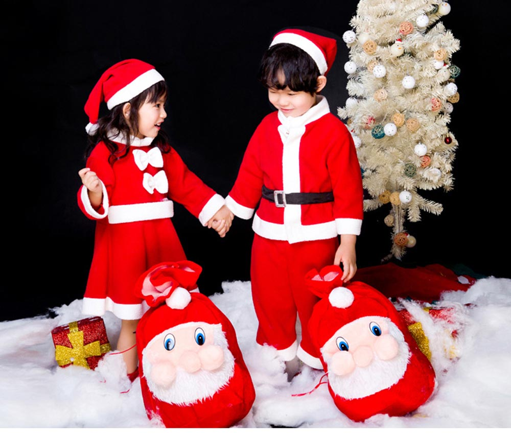 Children Christmas Costume Deluxe plush Christmas Suit for Christmas Party Cosplay Party Family Gathering Stage Performance Christmas Costume Set 17