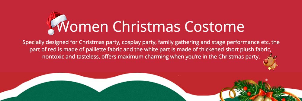 Girls Christmas Skip Dress, Luxurious Paillette Women Christmas Singlet Dress for Christmas Party, Cosplay, Family Gathering, Stage Performance 6
