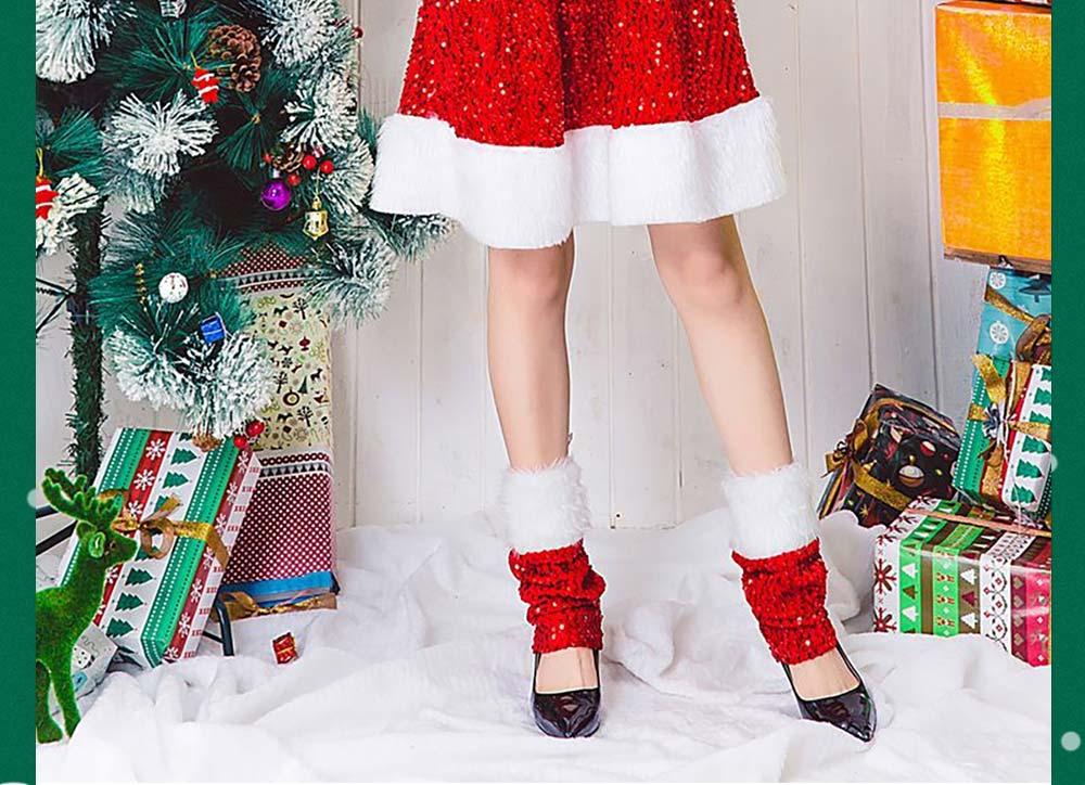 Girls Christmas Skip Dress, Luxurious Paillette Women Christmas Singlet Dress for Christmas Party, Cosplay, Family Gathering, Stage Performance 8