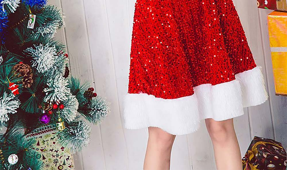 Girls Christmas Skip Dress, Luxurious Paillette Women Christmas Singlet Dress for Christmas Party, Cosplay, Family Gathering, Stage Performance 10