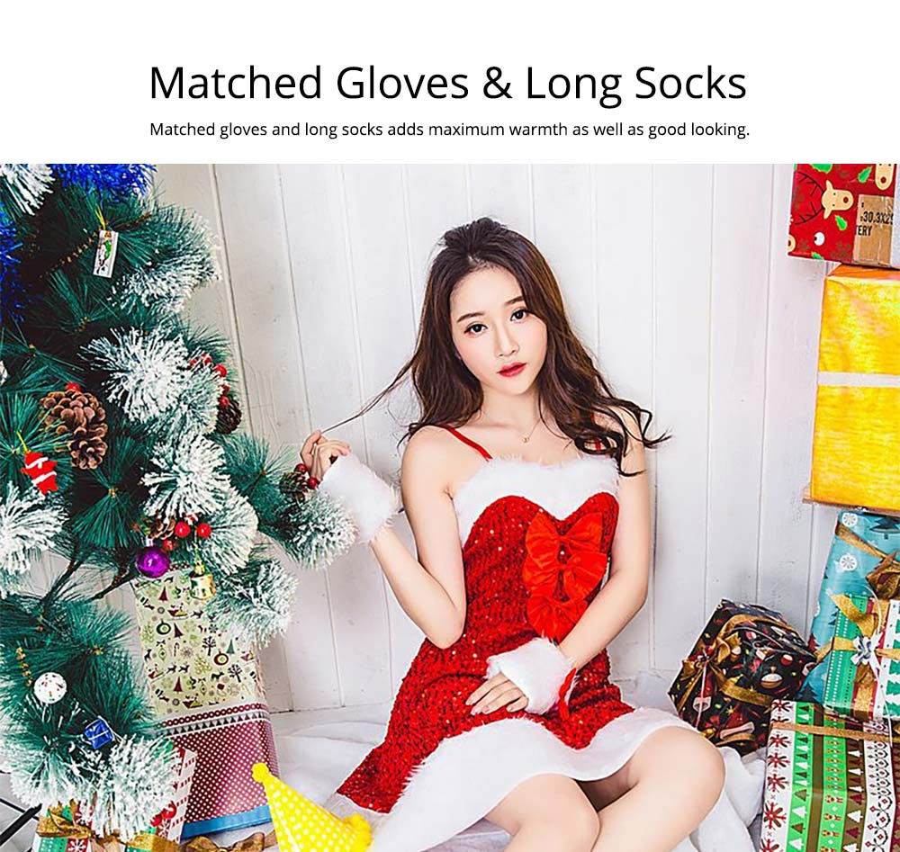 Girls Christmas Skip Dress, Luxurious Paillette Women Christmas Singlet Dress for Christmas Party, Cosplay, Family Gathering, Stage Performance 11