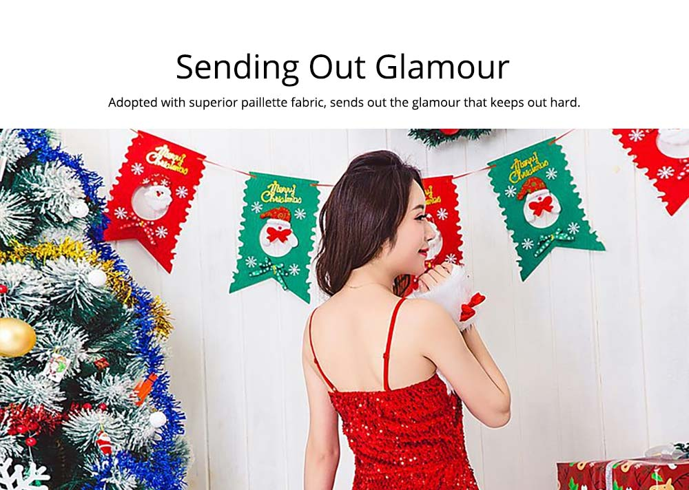 Girls Christmas Skip Dress, Luxurious Paillette Women Christmas Singlet Dress for Christmas Party, Cosplay, Family Gathering, Stage Performance 15