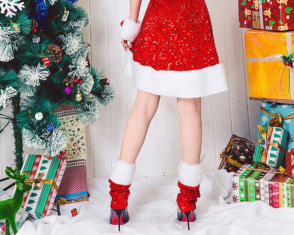Girls Christmas Skip Dress, Luxurious Paillette Women Christmas Singlet Dress for Christmas Party, Cosplay, Family Gathering, Stage Performance 16