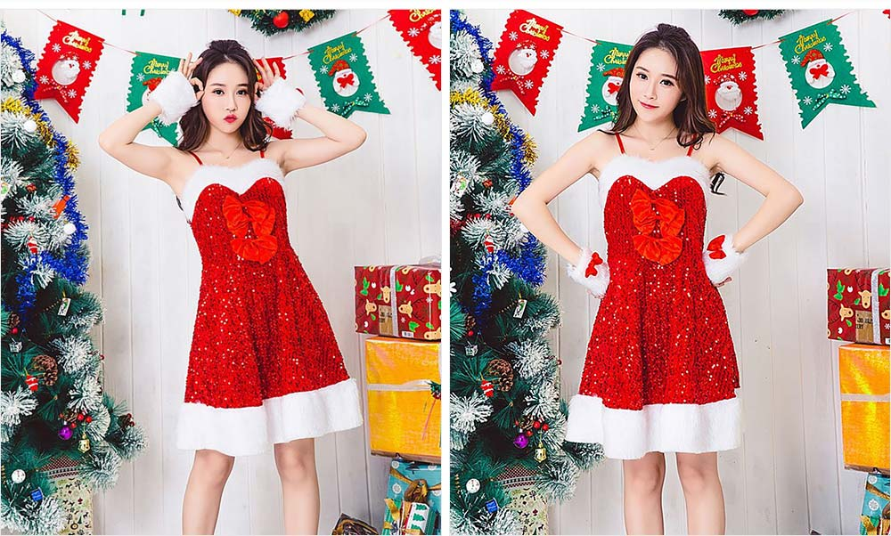 Girls Christmas Skip Dress, Luxurious Paillette Women Christmas Singlet Dress for Christmas Party, Cosplay, Family Gathering, Stage Performance 19
