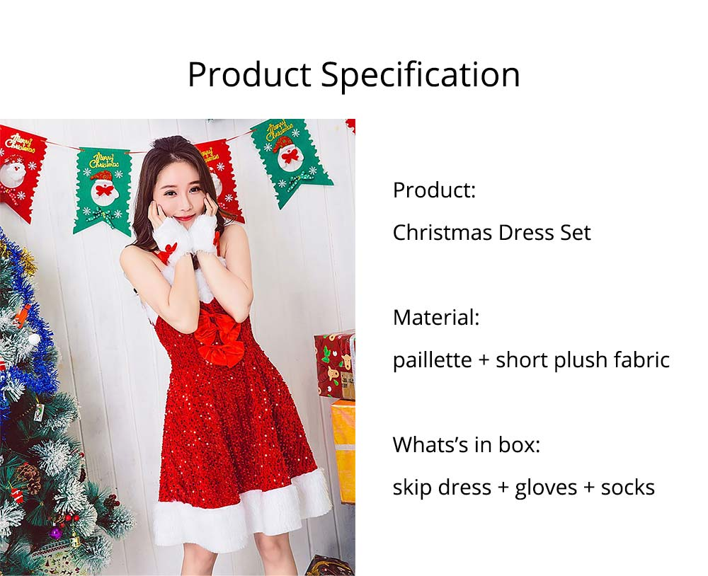 Girls Christmas Skip Dress, Luxurious Paillette Women Christmas Singlet Dress for Christmas Party, Cosplay, Family Gathering, Stage Performance 20